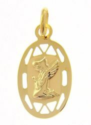 Picture of Guardian Angel praying with pierced edge Oval Medal Pendant gr 0,65 Yellow Gold 9k for Children (Boys and Girls)