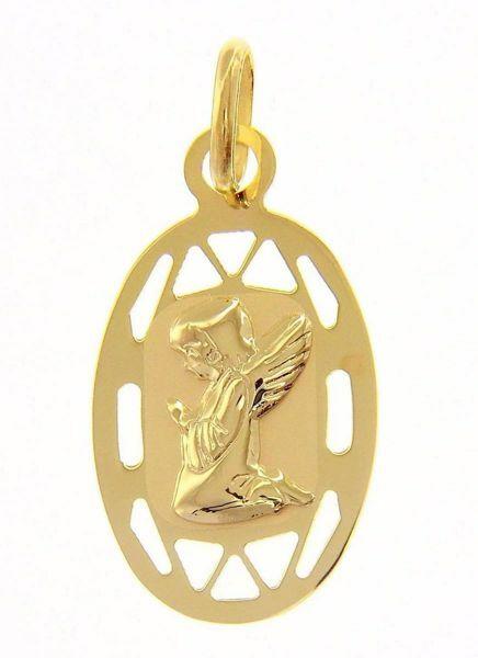 Immagine di Angelo Custode in preghiera con bordo traforato Medaglia Pendente ovale gr 0,65 Oro giallo 9kt per Bimba e Bimbo