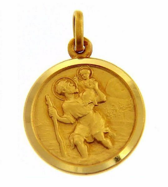 Immagine di San Cristoforo con bambino e bastone Medaglia Sacra Pendente tonda Conio gr 2 Oro giallo 18kt con bordo liscio da Uomo