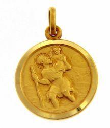 Imagen de San Cristóbal con Niño y bastón Medalla Sagrada Colgante redonda Acuñación gr 3,3 Oro amarillo 18kt con borde liso para Hombre