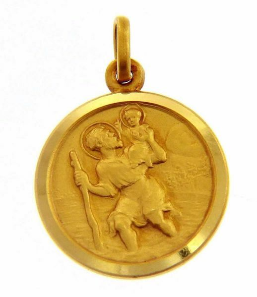 Immagine di San Cristoforo con bambino e bastone Medaglia Sacra Pendente tonda Conio gr 3,3 Oro giallo 18kt con bordo liscio da Uomo