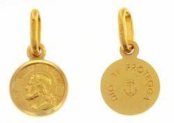 Immagine di Gesù Cristo Redentore e Preghiera Dio ti protegga Medaglia Sacra Pendente tonda Conio gr 0,9 Oro giallo 18kt con bordo liscio da Uomo