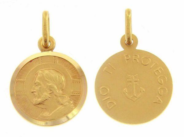 Immagine di Gesù Cristo Redentore e Preghiera Dio ti protegga Medaglia Sacra Pendente tonda Conio gr 2,5 Oro giallo 18kt con bordo liscio da Uomo
