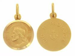 Picture of Jesus Christ the Redeemer and Prayer Dio ti protegga Coining Sacred Medal Round Pendant gr 3,4 Yellow Gold 18k with smooth edge for Man