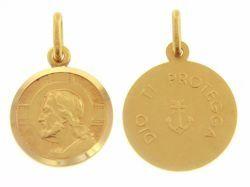 Immagine di Gesù Cristo Redentore e Preghiera Dio ti protegga Medaglia Sacra Pendente tonda Conio gr 3,4 Oro giallo 18kt con bordo liscio da Uomo