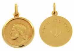 Immagine di Gesù Cristo Redentore e Preghiera Dio ti protegga Medaglia Sacra Pendente tonda Conio gr 5 Oro giallo 18kt con bordo liscio da Uomo