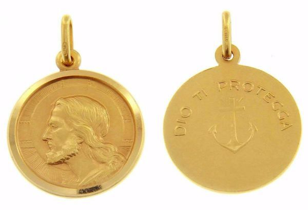 Picture of Jesus Christ the Redeemer and Prayer Dio ti protegga Coining Sacred Medal Round Pendant gr 5 Yellow Gold 18k with smooth edge for Man