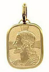 Picture of Jesus Christ with aureole Sacred Rectangular Medal Pendant in bas-relief gr 2,4 Yellow Gold 18k for Man