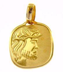 Imagen de Cristo Jesús Medalla Sagrada Colgante cuadrada en bajorrelieve gr 2,6 Oro amarillo 18kt para Hombre