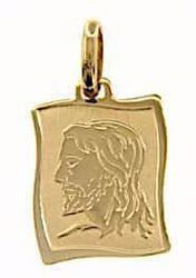 Picture of Holy Face of Jesus Sacred Rectangular Medal Pendant in bas-relief gr 1,6 Yellow Gold 18k for Man