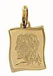 Immagine di Sacro Volto di Gesù Medaglia Sacra Pendente rettangolare Bassorilievo gr 1,6 Oro giallo 18kt da Uomo