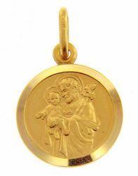 Imagen de San José con el Niño Jesús Medalla Sagrada Colgante redonda Acuñación gr 2,7 Oro amarillo 18kt con borde liso para Hombre