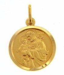 Immagine di San Giuseppe con Gesù Bambino Medaglia Sacra Pendente tonda Conio gr 3,4 Oro giallo 18kt con bordo liscio da Uomo