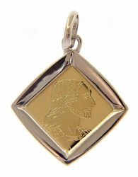 Picture of Holy Face of Jesus Christ Sacred Square Medal Pendant gr 1,4 Bicolour yellow white Gold 18k Unisex Woman Man