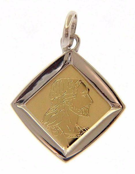 Imagen de Sagrado Rostro de Jesús Cristo Medalla Sagrada Colgante cuadrada gr 1,4 Bicolor Oro blanco amarillo 18kt Unisex Mujer Hombre