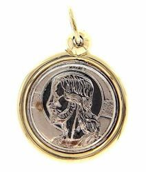 Picture of Holy Face of Jesus Christ with aureole Sacred Medal Round Pendant gr 2,9 Bicolour yellow white Gold 18k Unisex Woman Man