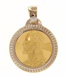 Picture of Holy Face of Jesus Christ with aureole and carved Edge Sacred Medal Round Pendant gr 2,5 Bicolour yellow white Gold 18k Unisex Woman Man