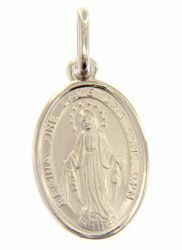 Picture of Our Lady of Graces Regina sine labe originali concepta o.p.n. Coining Sacred Oval Medal Pendant gr 2,1 White Gold 18k Unisex Woman Man