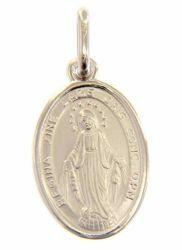Immagine di Madonna Miracolosa Regina sine labe originali concepta o.p.n. Medaglia Sacra Pendente ovale Conio gr 2,1 Oro bianco 18kt Unisex Donna Uomo