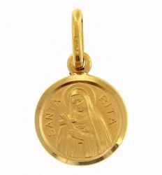 Picture of Saint Rita with Cross and Aureole Coining Sacred Medal Round Pendant gr 1,3 Yellow Gold 18k with smooth edge Unisex Woman Man
