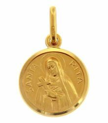 Picture of Saint Rita with Cross and Aureole Coining Sacred Medal Round Pendant gr 2 Yellow Gold 18k with smooth edge Unisex Woman Man