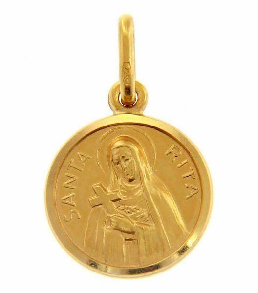 Immagine di Santa Rita con Croce e Aureola Medaglia Sacra Pendente tonda Conio gr 2 Oro giallo 18kt con bordo liscio Unisex Donna Uomo