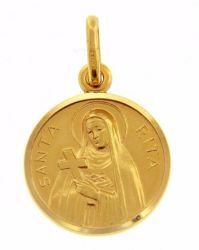 Picture of Saint Rita with Cross and Aureole Coining Sacred Medal Round Pendant gr 2,5 Yellow Gold 18k with smooth edge Unisex Woman Man
