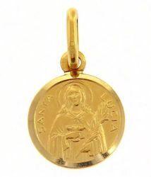 Imagen de Santa Lucía Medalla Sagrada Colgante redonda Acuñación gr 1,4 Oro amarillo 18kt Unisex Mujer Hombre