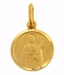 Imagen de Santa Lucía Medalla Sagrada Colgante redonda Acuñación gr 2 Oro amarillo 18kt Unisex Mujer Hombre
