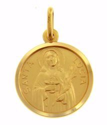 Immagine di Santa Lucia Medaglia Sacra Pendente tonda Conio gr 3,3 Oro giallo 18kt Unisex Donna Uomo