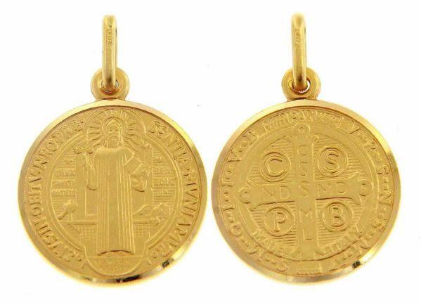 Imagen de Cruz de San Benito Crux Sancti Patris Benedicti Medalla Sagrada Colgante redonda Acuñación gr 5,3 Oro amarillo 18kt borde liso Unisex Mujer Hombre