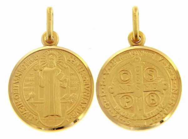 Imagen de Cruz de San Benito Crux Sancti Patris Benedicti Medalla Sagrada Colgante redonda Acuñación gr 6,7 Oro amarillo 18kt borde liso Unisex Mujer Hombre
