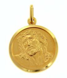Picture of Ecce Homo Holy Face of Jesus with Crown of Thorns Coining Sacred Medal Round Pendant gr 4,9 Yellow Gold 18k Unisex Woman Man