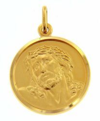 Picture of Ecce Homo Holy Face of Jesus with Crown of Thorns Coining Sacred Medal Round Pendant gr 6 Yellow Gold 18k Unisex Woman Man