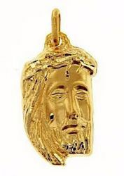 Picture of Holy Face of Jesus with Crown of Thorns Ecce Homo Medal Pendant gr 4,3 Yellow Gold 18k relief printed plate Unisex for Woman and Man