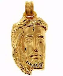 Picture of Holy Face of Jesus with Crown of Thorns Ecce Homo Medal Pendant gr 8,4 Yellow Gold 18k relief printed plate Unisex for Woman and Man