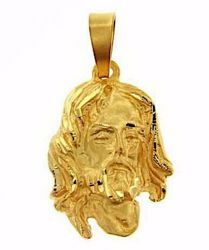 Picture of Holy Face of Jesus Christ Medal Pendant gr 9,7 Yellow Gold 18k relief printed plate Unisex for Woman and Man