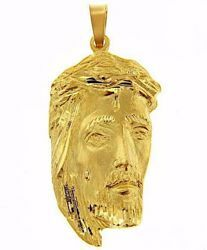 Picture of Holy Face of Jesus with Crown of Thorns Ecce Homo Medal Pendant gr 17,8 Yellow Gold 18k relief printed plate Unisex Woman Man