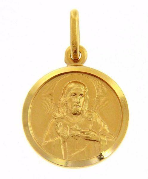 Imagen de Sagrado Corazón de Jesús Medalla Sagrada Colgante redonda Acuñación gr 2,5 Oro amarillo 18kt con borde liso Unisex Mujer Hombre