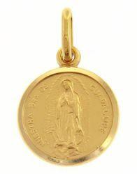 Imagen de Madonna Nuestra Señora Virgen de Guadalupe Medalla Sagrada Colgante redonda Acuñación gr 2 Oro amarillo 18kt con borde liso Unisex Mujer Hombre