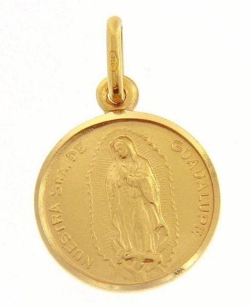 Imagen de Madonna Nuestra Señora Virgen de Guadalupe Medalla Sagrada Colgante redonda Acuñación gr 2,5 Oro amarillo 18kt con borde liso Unisex Mujer Hombre