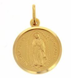 Picture of Madonna Nuestra Señora Virgen de Guadalupe Coining Sacred Medal Round Pendant gr 3,4 Yellow Gold 18k with smooth edge Unisex Woman Man