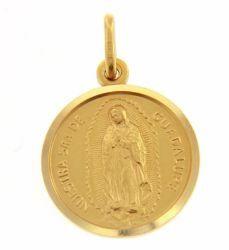 Imagen de Madonna Nuestra Señora Virgen de Guadalupe Medalla Sagrada Colgante redonda Acuñación gr 3,4 Oro amarillo 18kt con borde liso Unisex Mujer Hombre
