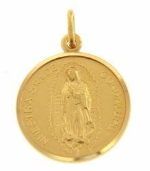 Imagen de Madonna Nuestra Señora Virgen de Guadalupe Medalla Sagrada Colgante redonda Acuñación gr 5,6 Oro amarillo 18kt con borde liso Unisex Mujer Hombre