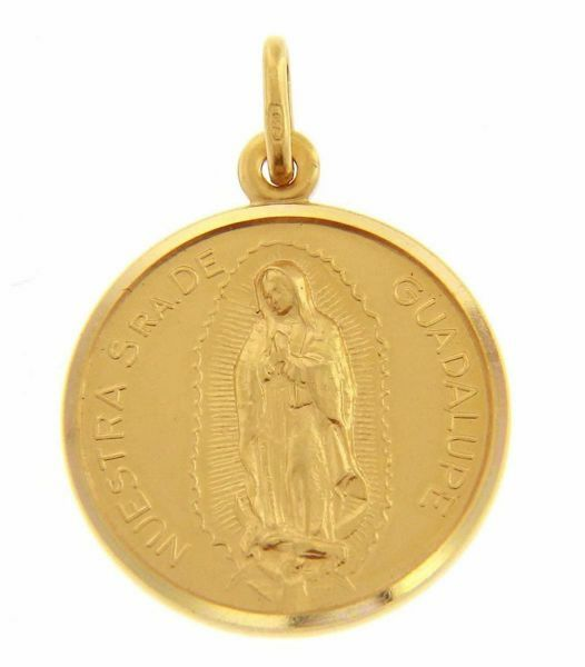 Immagine di Madonna Nuestra Señora Virgen de Guadalupe Medaglia Sacra Pendente tonda Conio gr 5,6 Oro giallo 18kt con bordo liscio Unisex Donna Uomo