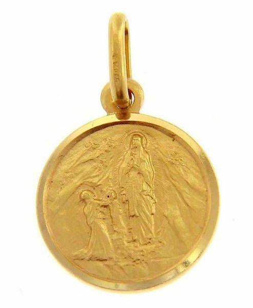 Immagine di Madonna Nostra Signora di Lourdes Medaglia Sacra Pendente tonda Conio gr 2 Oro giallo 18kt con bordo liscio Unisex Donna Uomo