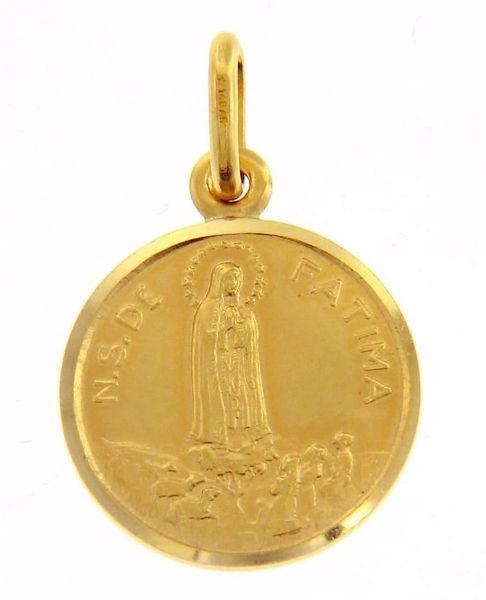 Imagen de Madonna Nuestra Señora Virgen de Fatima Medalla Sagrada Colgante redonda Acuñación gr 2,7 Oro amarillo 18kt con borde liso Unisex Mujer Hombre