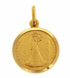 Imagen de Virgen María Nuestra Señora Madonna negra de Loreto Medalla Sagrada Colgante redonda Acuñación gr 3,1 Oro amarillo 18kt con borde liso Unisex Mujer Hombre