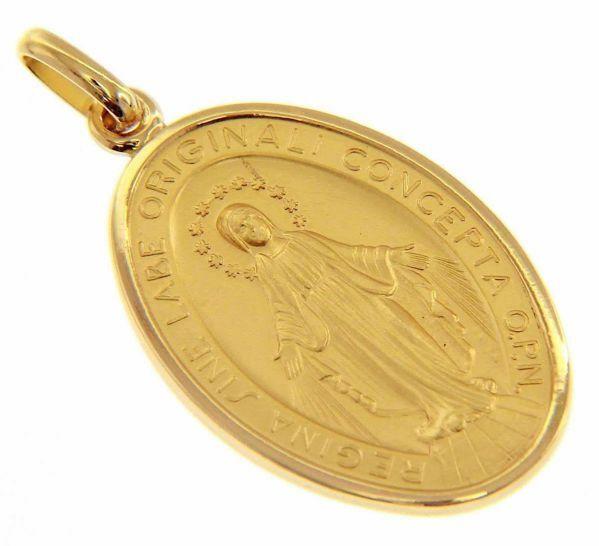 Imagen de Virgen María Nuestra Señora Milagrosa Regina sine labe originali concepta o.p.n. Medalla Colgante oval Acuñación gr 12,5 Oro amarillo 18kt Unisex Mujer Hombre
