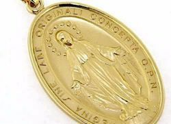Immagine di Madonna Miracolosa Regina sine labe originali concepta o.p.n. Medaglia Sacra Pendente ovale Conio gr 23,8 Oro giallo 18kt Unisex Donna Uomo